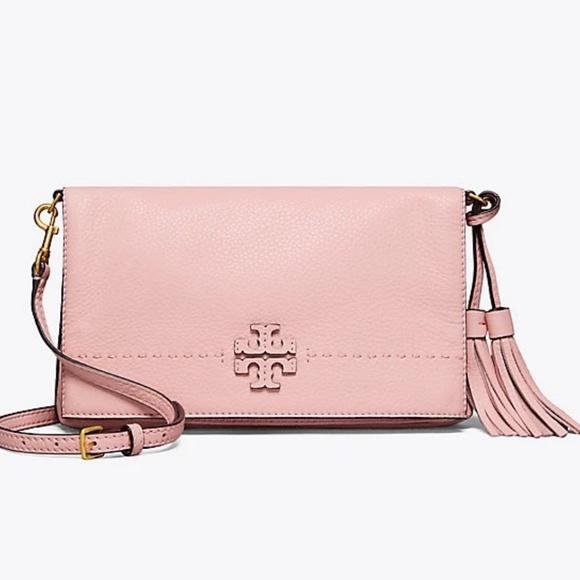 3d49d38b5ab7 Tory Burch McGraw Foldover Leather Crossbody Pink